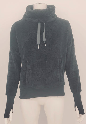 Mondetta Black Funnel Neck Teddy Fleece Sweatshirt Size Small $89