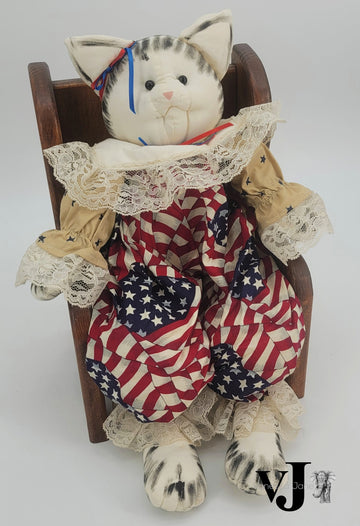 Vintage Americana Cat Doll with Handcrafted Wood Chair by Duke & Dusk