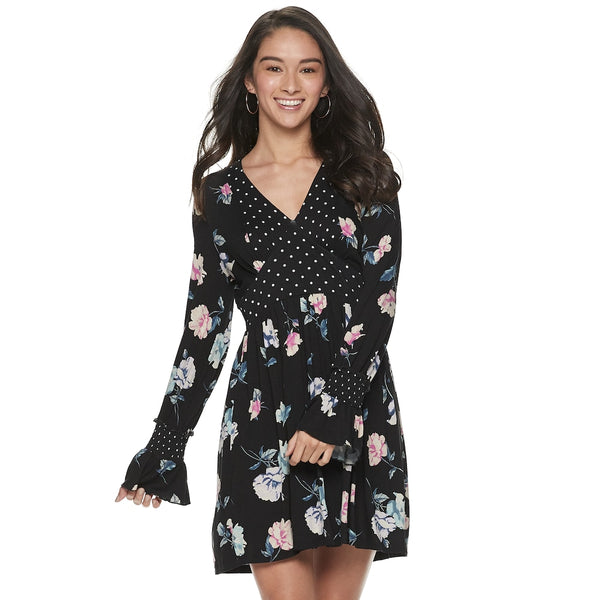American Rag Juniors Floral-Print Smocked-Waist Dress, Various Sizes