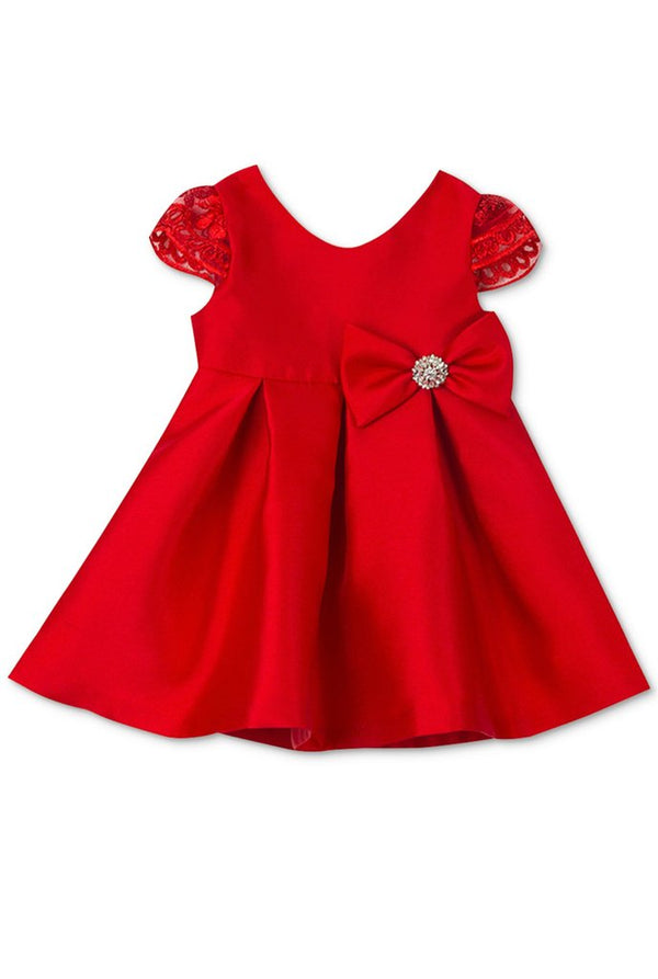 RARE EDITIONS Baby Girl  Red Mikado Bow Holiday Dress