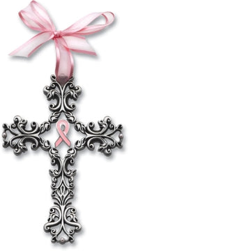 Cathedral Art FC328 5 in. Celebrate Life Filigree Cross with Pink Ribbon and Pearl