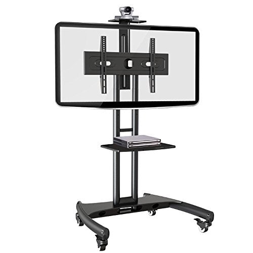 Rocelco VSTC Adjustable Height Mobile TV Stand, for 32-70 inch Flat Screen TVs, with with AV and Webcam Shelf - Black