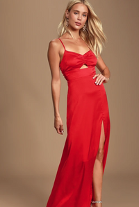 Lulus Renata Red Print Satin Maxi Dress