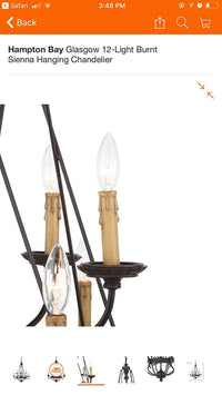 Hampton Bay Glasgow 12-Light Burnt Sienna Hanging Chandelier 12112-029