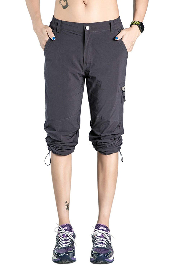 Nonwe Womens Quick Drying Lightweight Hiking Pants with Drawstring Hem,Gray