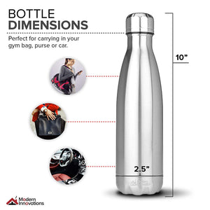 17 oz Stainless Steel Water Bottle Vacuum Insulated Double Walled Leak-Proof Cola Shaped Bottle Keeps Drinks Hot and Cold for Indoor Outdoor Sports |
