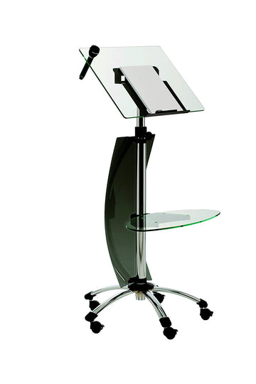 Rocada Visualline Mobile Lectern with Tempered Glass Shelves, Height Adjustable 41-57 Inches (RD-3070)