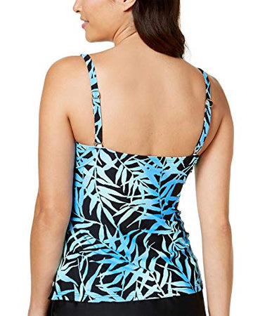 Island Escape Womens Swimsuit Seaside Shades Ruffled Tankini Top