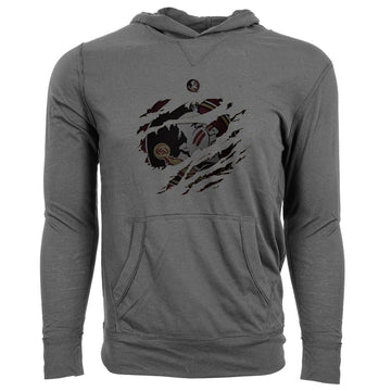 Levelwear NCAA Florida State Seminoles Adult Men Ripped Armstrong Hoodie, Small, Steel Grey