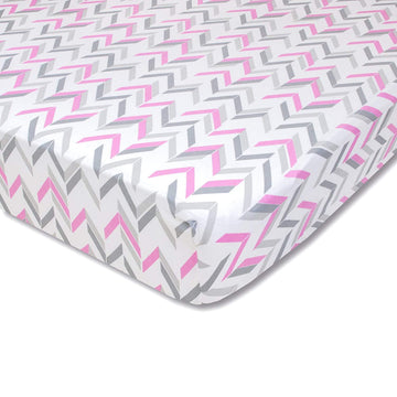 Wendy Bellissimo Mix & Match Chevron Fitted Crib Sheet in Grey/Pink
