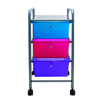 Advantus 3-Drawer Organizers-3-Drawer Organizer, w/ Casters, 13x15-1/4x26, Multi Color