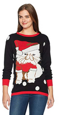 Isabellas Closet Womens Disgruntled Cat Ugly Christmas Sweater, Black Various Si