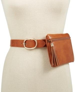 INC International Concepts I.N.C. Tassel Fanny Pack, Medium/Cognac-gold