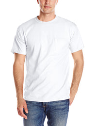 Lot of 2 Hanes Men's  Short Sleeve Beefy-T with Pocket, White, Small