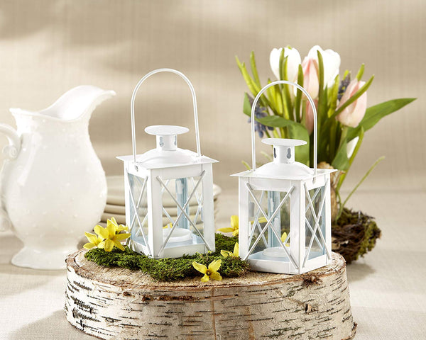 Kate Aspen Luminous Metal Mini Lanterns, Vintage Teal Light Candle Holders, White