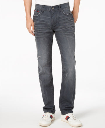 Tommy Hilfiger Mens Coated Straight Fit Stretch Jeans