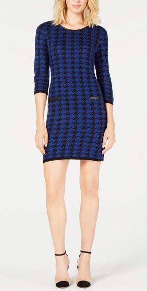NY Collection Petite Jacquard Houndstooth-Print Dress.