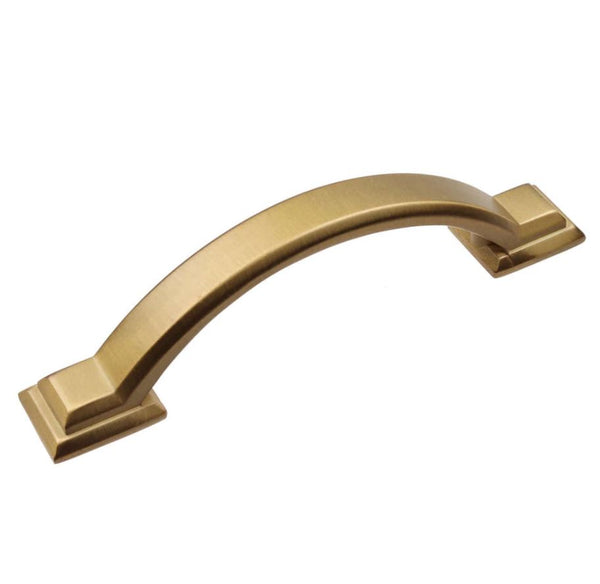 Lot of 10 3 Inch Center to Center Satin Gold Arched Square Pull Cabinet Hardware Handle -