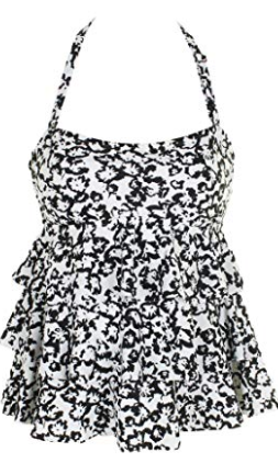 Island Escape Black White Cape May Tiered Bandeau Tankini Top Size 8