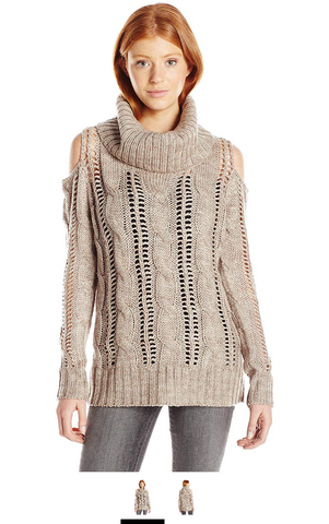 Love By Design Juniors Cold Shoulder Cowl Neck Pullover Sweater, Light Brown, Large