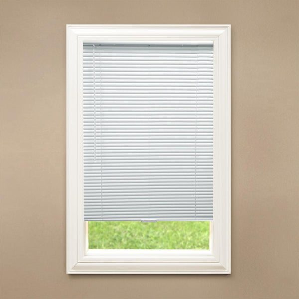 Hampton Bay White Cordless 1 in. Blackout, 48in Drop, Vinyl Mini Blind