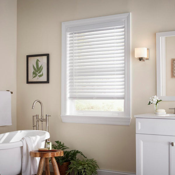 Home Decorators White Cordless 2-1/2 in. Faux Wood Blind, 64in Drop Various Size
