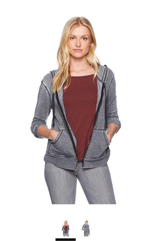 LAmade Women's Burnout French Terry Zingne Hoody, Raven, S