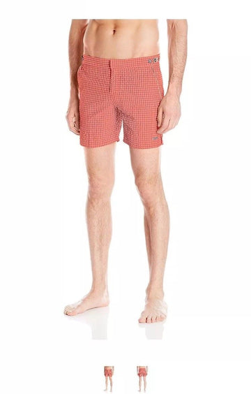 parke & ronen Men's Catalonia Gingham Check 6 Inch Swim Short, Red/Taupe, 34