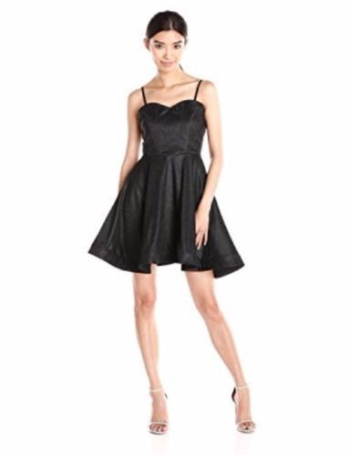 Wow Couture Women's Sweet Heart Fit and Flare Textured with Lurex Dress