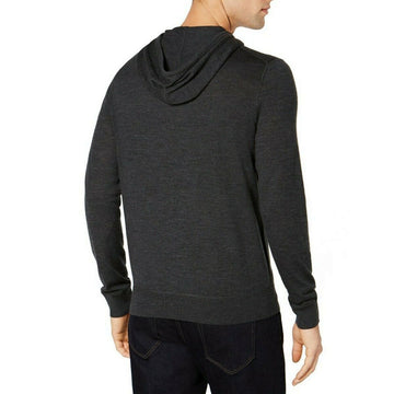 Michael Kors Mens Merino Wool  Sweater Charcoal Pullover Hooded $180 Various Siz