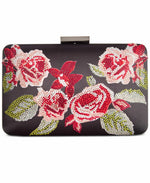 INC International Concepts Danaa Rose Minaudiere Black FloralGunmetal