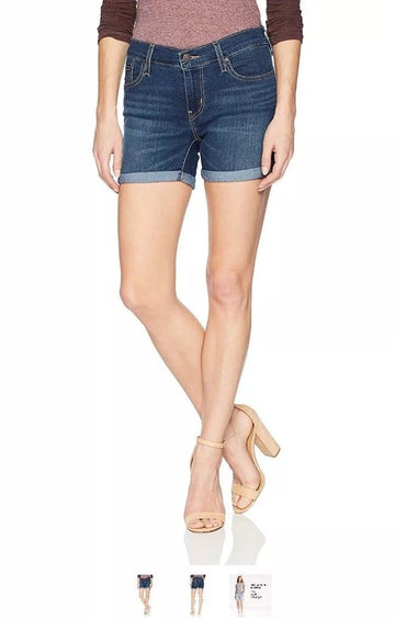 Levis Womens Mid Length Shorts, blue, Various Sizes, Colors