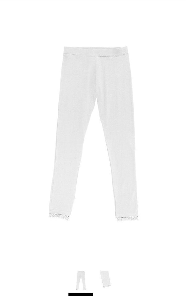 lots of 2 French Toast Girls' Little Lace Trim Legging, White, 4