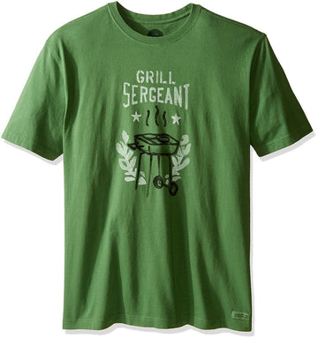 Life is Good Mens Grill Sergeant Crusher Tee, Treetop Green, Small