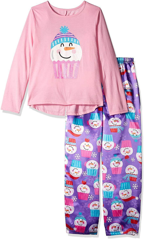 Komar Kids Girls' Big 2 Piece Charmeuse Pajama Set, Amethyst, M
