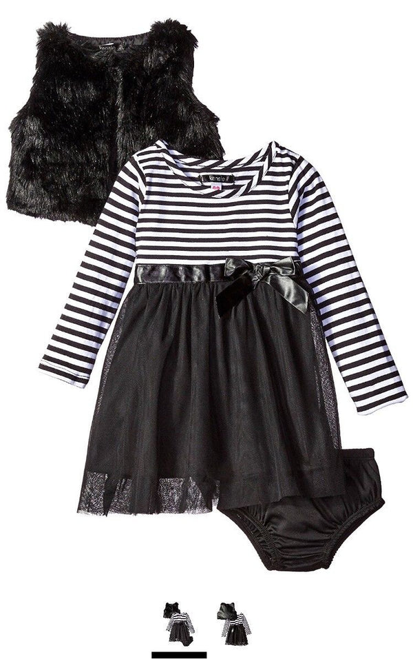 kensie Baby Girls' Casual Dress , KS43 Black, 24M
