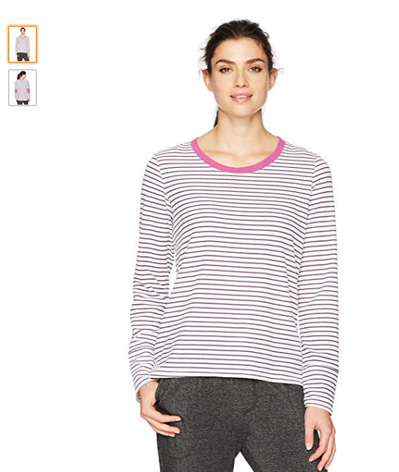 Jockey Women's Soft Thermal Long Sleeve Top, Simple Stripe, M