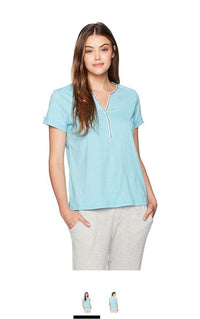 Karen Neuburger Women's Short Sleeve T-Shirt Pajama Top PJ, Heather Teal, S