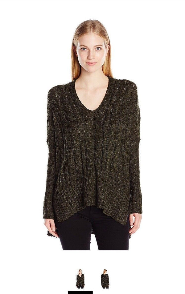 Love By Design Juniors Oversize Cable Pullover Sweater, Black/Olive Marled, Med