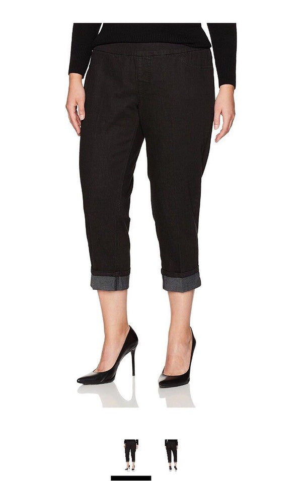 SLIM-SATION Women's Plus Size Wide Band Pull On Boyfriend Crop Pant, Black Denim