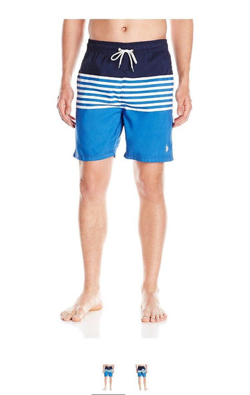U.S. Polo Assn. Mens Peached Microfiber Swim Short, 4686-China Blue, 2X