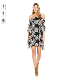Moon River Women's Off Shoulder Floral Print Dress, Black/Ivory, Small