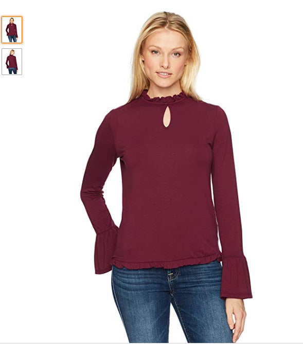 Freshman 1996 Women's Bell Sleeve Top with Ruffle Neck, Tawny Port, S