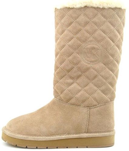 Michael Kors Sandy Quilted pieced Tall Boots $195 khaki suede fur sherpa 6