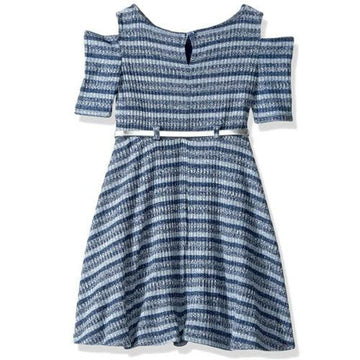 Youngland Girls' Knit Skater Dress with Belt Detail