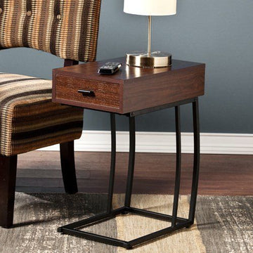 Southern Enterprises Porten Side Table in Walnut Finish