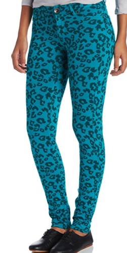 Southpole Juniors Printed Pattern Moleton Skinny Pant, Teal, Large $40