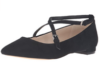 Nine West Womens Anastagia Pointed Toe Flat Black Suede Patent Straps, Sz 8-1/2