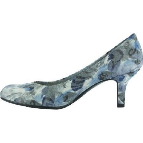 Easy Street Passion Pumps Blue Feather Fabric 7 N