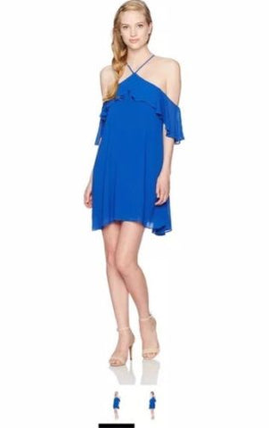 My Michelle Women's Off The Shoulder Halter Neck Layered Dress, Blue, M